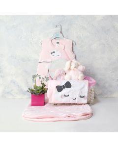 A LITTLE LOVE BABY GIRL GIFT BASKET, baby girl gift hamper, newborns, new parents