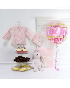 Welcome A Sweet Baby Girl Basket, baby gift baskets, baby boy, baby gift, new parent, baby, champagne