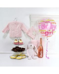 Celebrate A Sweet Baby Girl Set, baby gift baskets, baby boy, baby gift, new parent, baby, champagne