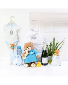 Baby Boy's Bath Time Celebration Set, baby gift baskets, baby boy, baby gift, new parent, baby, champagne