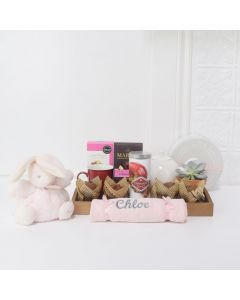 BUNNY MEETS BABY GIFT BASKET, baby girl gift basket, welcome home baby gifts, new parent gifts