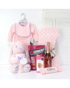 LITTLE MISS PINK BABY GIRL GIFT BASKET, baby girl gift basket, welcome home baby gifts, new parent gifts