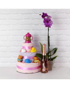 BABY GIRL'S LUXURY FUN SET WITH CHAMPAGNE, baby girl gift hamper, newborns, new parents