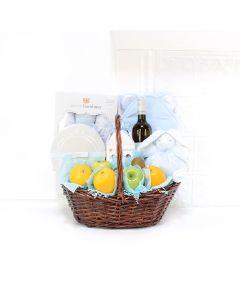Baby Essentials & Wine Gift Set, baby gift baskets, baby gifts, wine gift baskets
