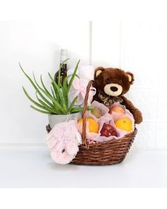 Apples & Aloe Baby Gift Basket with Wine, baby gift baskets, wine gift baskets