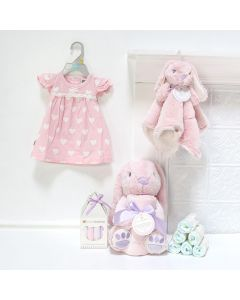 Pink Bunny Gift Basket, baby gift baskets, baby boy, baby gift, new parent, baby